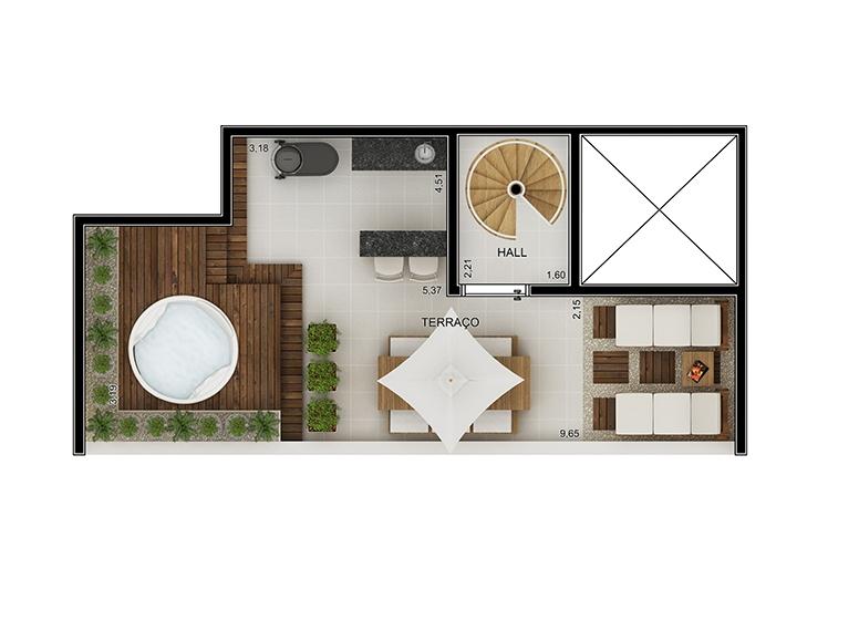 Cobertura duplex superior 2 dorms - perspectiva ilustrada