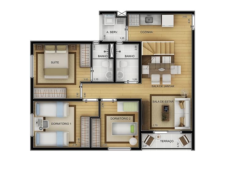 Cobertura duplex inferior 3 dorms - perspectiva ilustrada