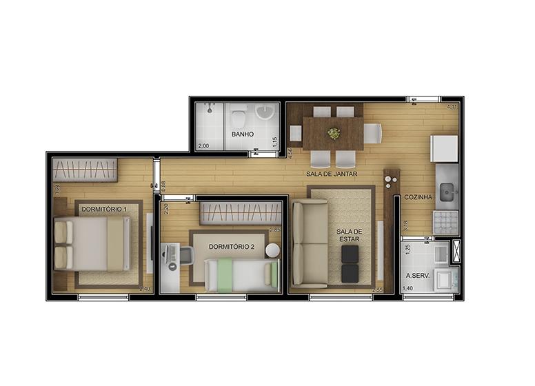 Planta 2 dorms 43m² - perspectiva ilustrada