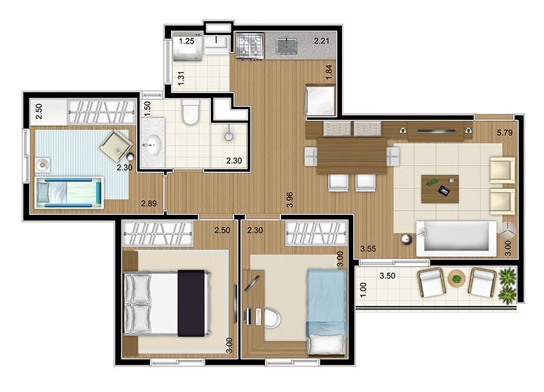 Apto Tipo 3 dorms 66m² - perspectiva ilustrada