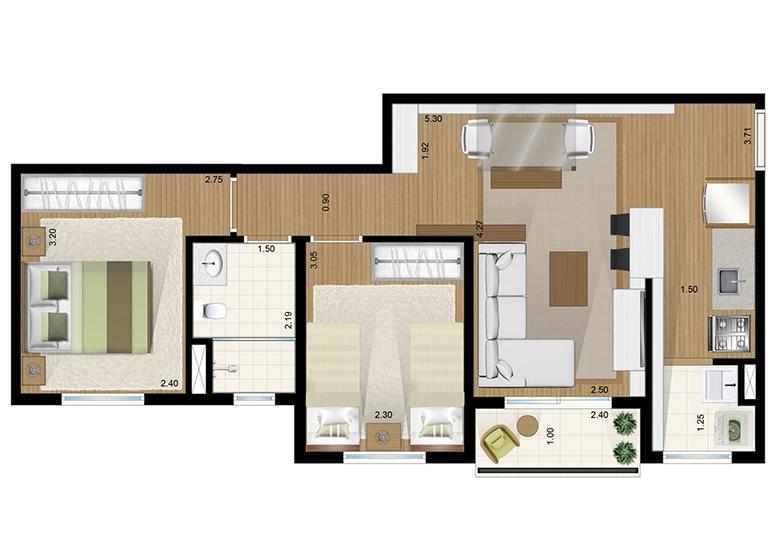 Apto Tipo 2 dorms 50m² - perspectiva ilustrada
