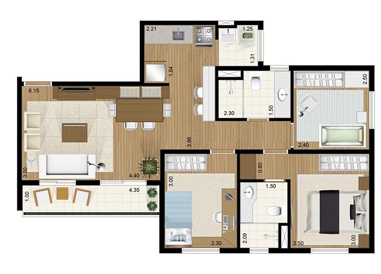 Apto Tipo 3 dorms c/ suíte 66m² - perspectiva ilustrada