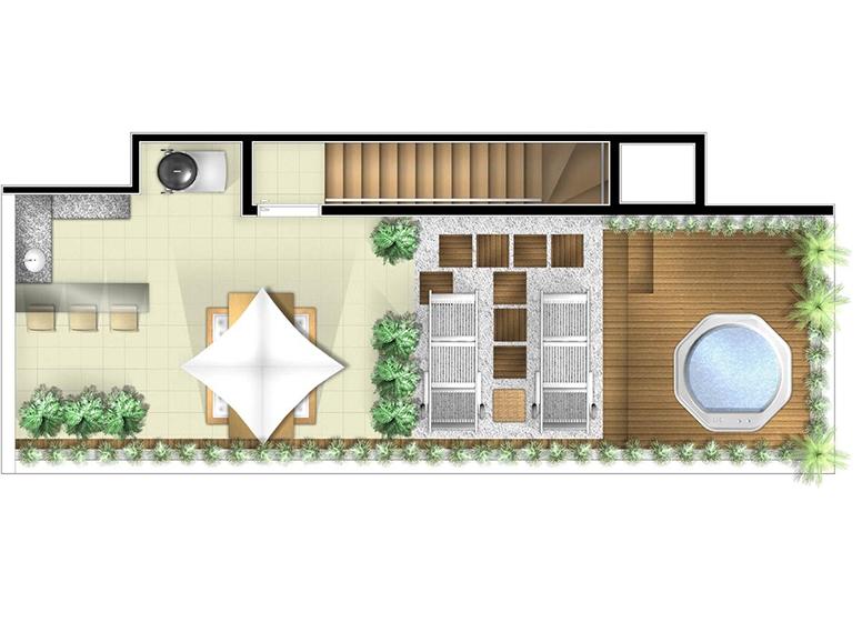 Planta Duplex superior 2 dorms - perspectiva ilustrada - Vero Novo Campo Belo