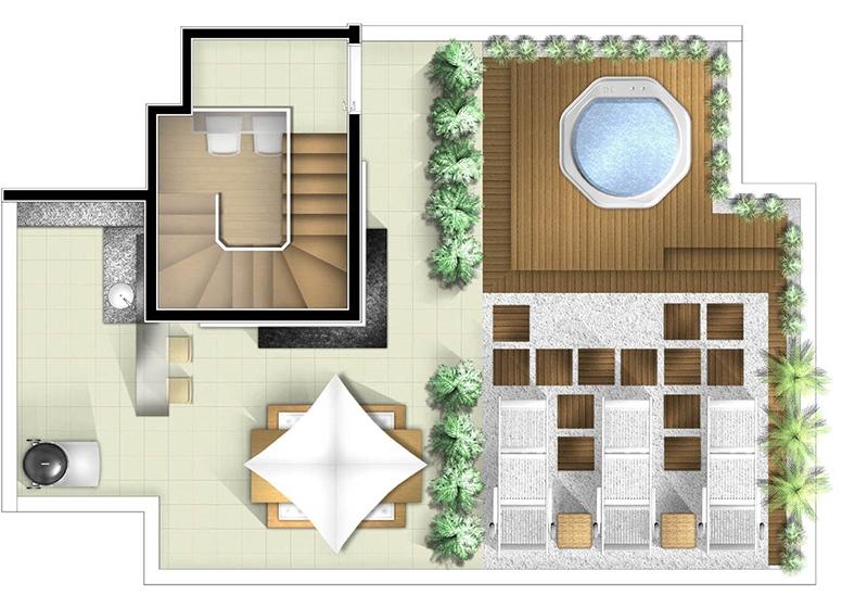 Planta Duplex superior 3 dorms - perspectiva ilustrada