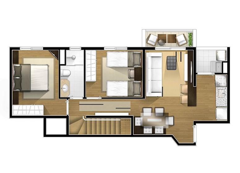 Planta Duplex inferior 2 dorms - perspectiva ilustrada