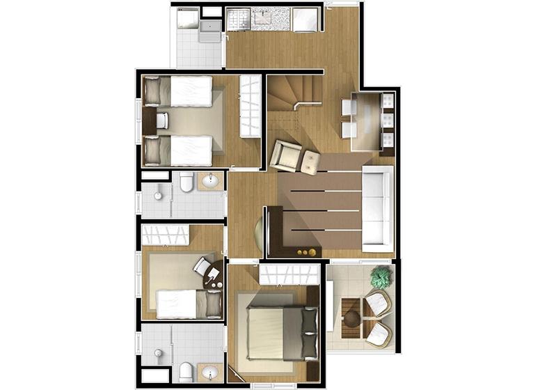 Planta Duplex inferior 3 dorms - perspectiva ilustrada