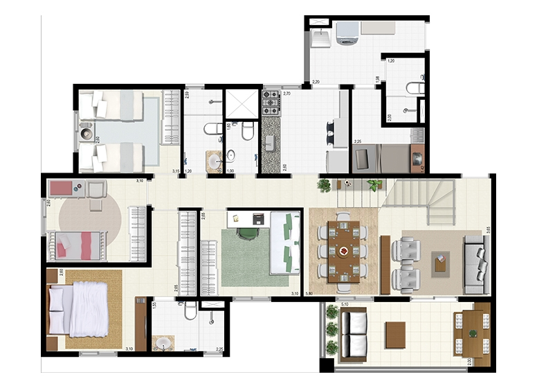 Planta Duplex 207m² - Inferior - L'Acqua Condominium Club