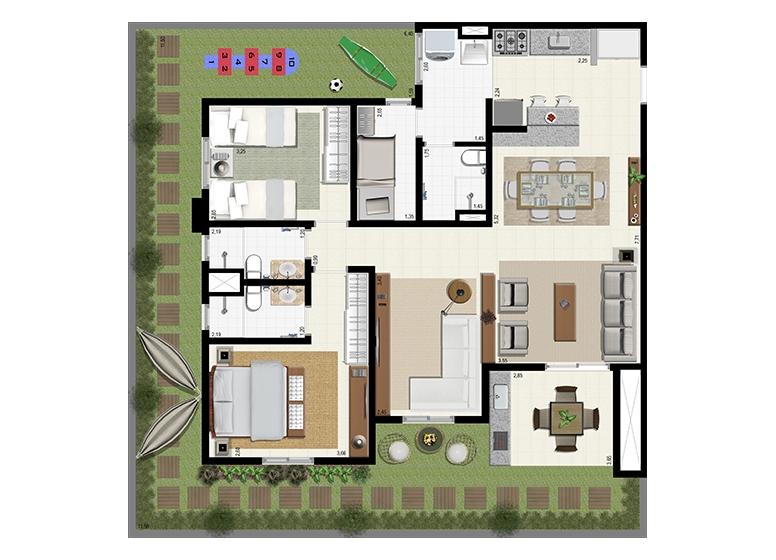Planta Giardino 140m² - Ampliada