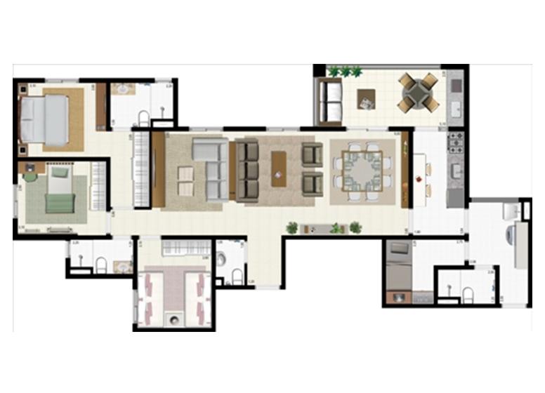 Planta 117m² - Ampliada - L'Acqua Condominium Club