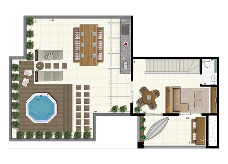 Planta Duplex 207m² - Superior - L'Acqua Condominium Club