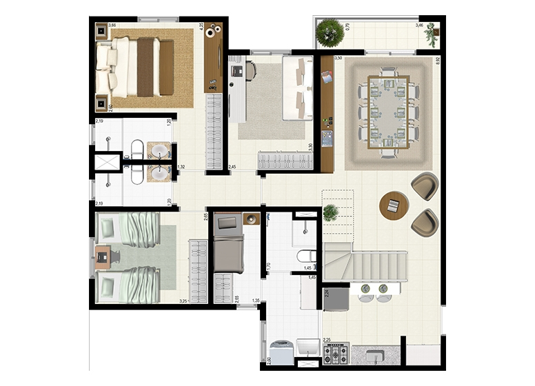 Planta Duplex 152m² - Inferior - L'Acqua Condominium Club