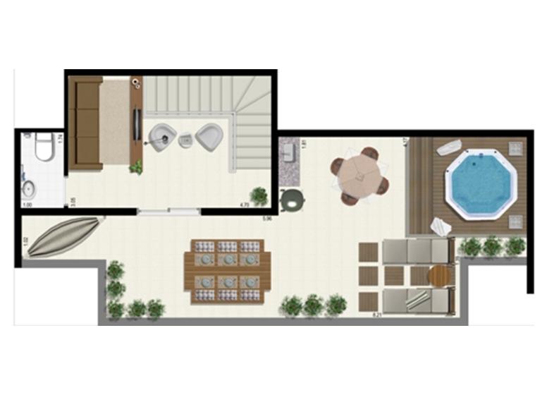 Planta Duplex 126m² - Superior - L'Acqua Condominium Club