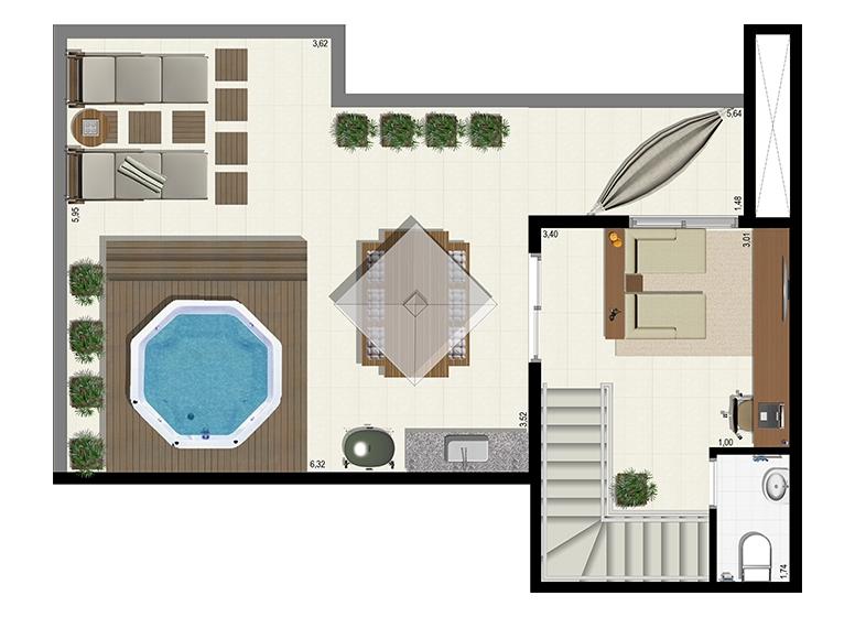 Planta Duplex 152m² - Superior - L'Acqua Condominium Club