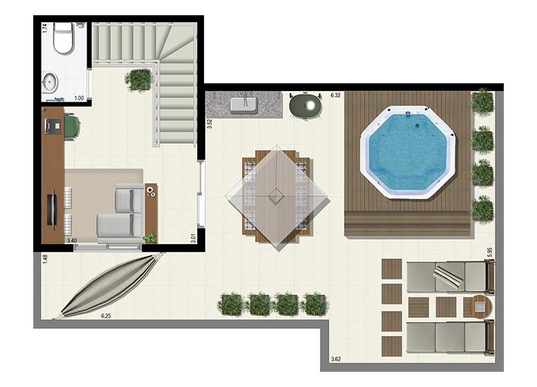 Planta Duplex 153m² - Superior - L'Acqua Condominium Club