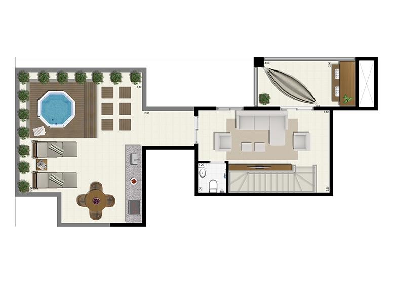 Planta Duplex 191m² - Superior - L'Acqua Condominium Club