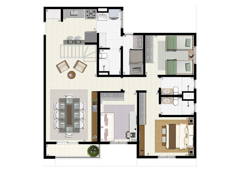 Planta Duplex 153m² - Inferior - L'Acqua Condominium Club
