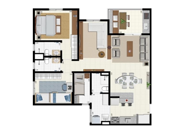 Planta 92m² - Ampliada - L'Acqua Condominium Club