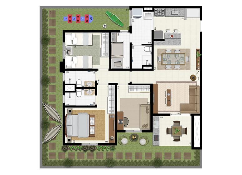 Planta Giardino 140m² B - L'Acqua Condominium Club