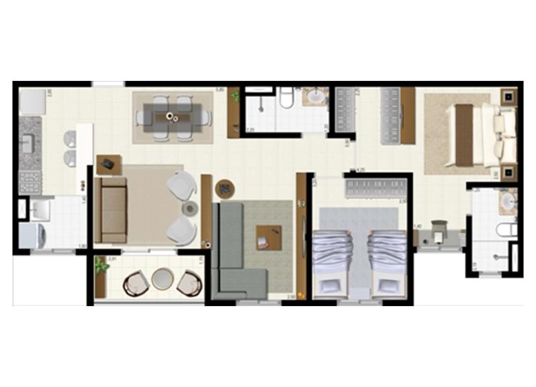 Planta 72m² - Ampliada - L'Acqua Condominium Club