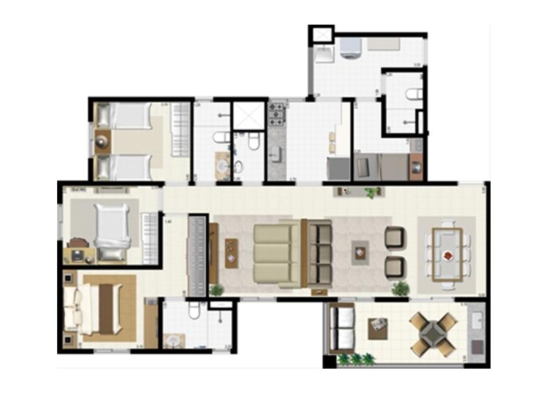 Planta 114m² - Ampliada - L'Acqua Condominium Club