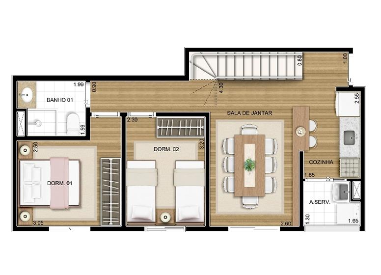 Duplex Inferior 2 dorms 92m² - perspectiva ilustrada