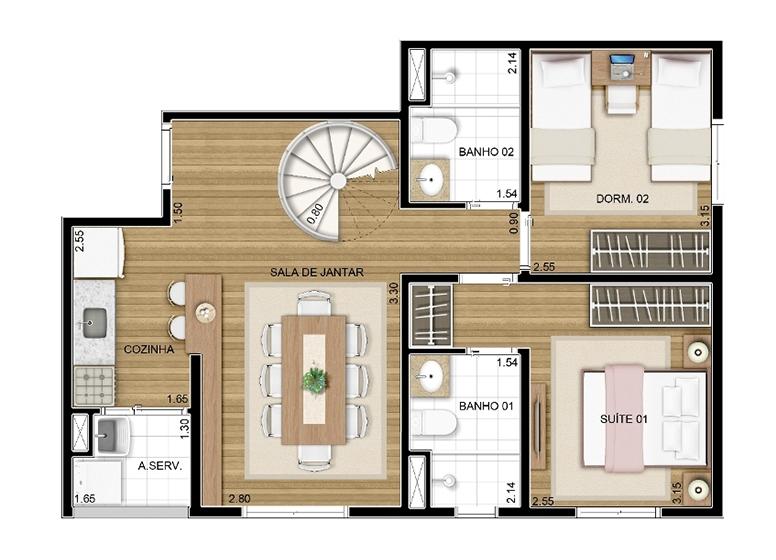 Duplex Inferior 2 dorms c/ suíte 106m² - perspectiva ilustrada