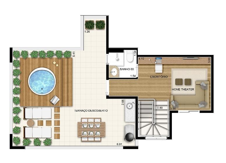 Duplex Superior 3 dorms c/ suíte 122m² - perspectiva ilustrada