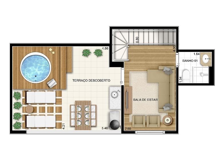 Duplex Superior 2 dorms 92m² - perspectiva ilustrada