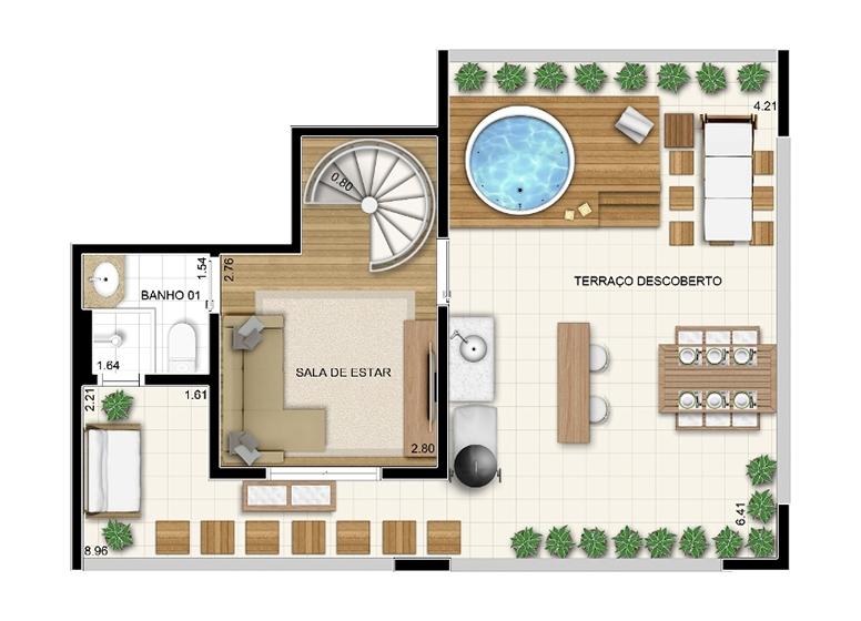 Duplex Superior 2 dorms c/ suíte 106m² - perspectiva ilustrada