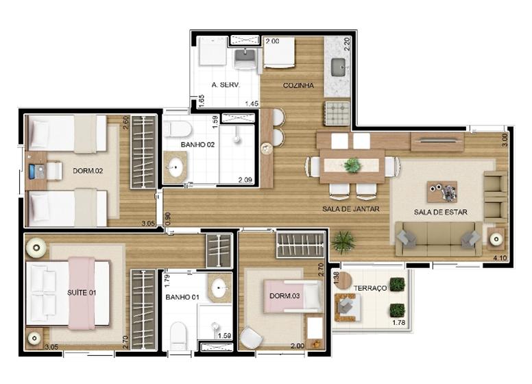 Apto tipo 3 dorms c/ suíte 65m² - perspectiva ilustrada