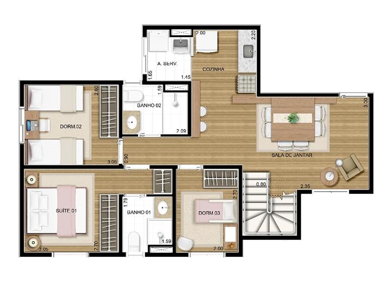 Duplex Inferior 3 dorms c/ suíte 122m² - perspectiva ilustrada