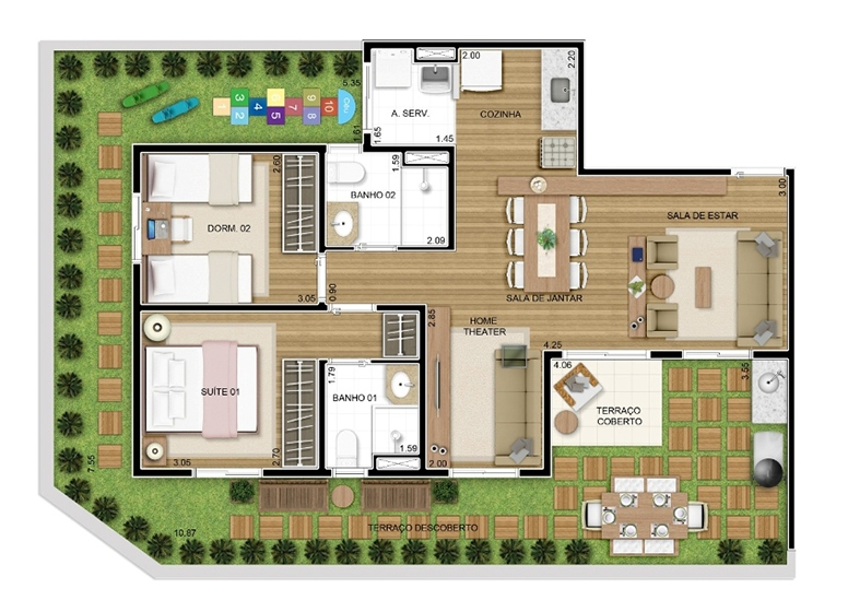 Giardino 2 dorms 111m² - perspectiva ilustrada