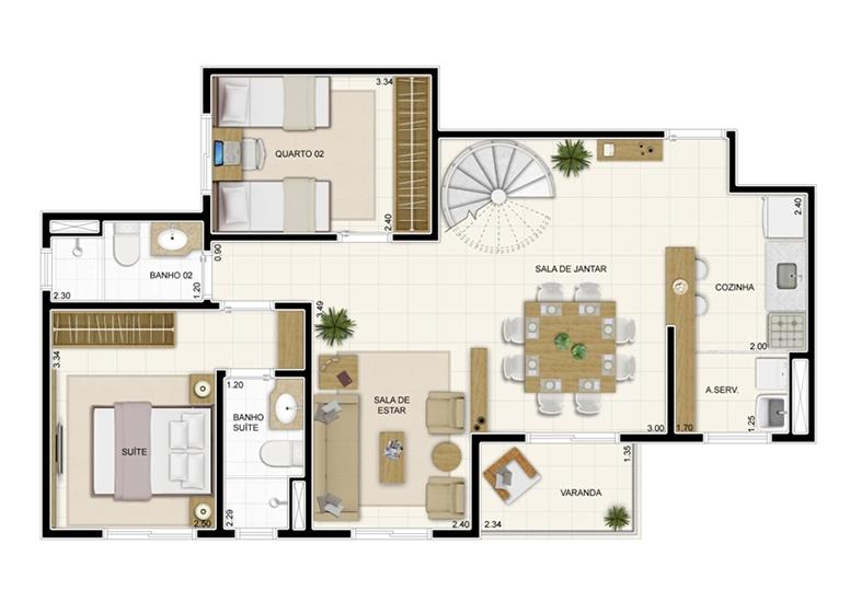 Duplex Inferior 132m² - Sala ampliada - Novo Sttilo Home Club