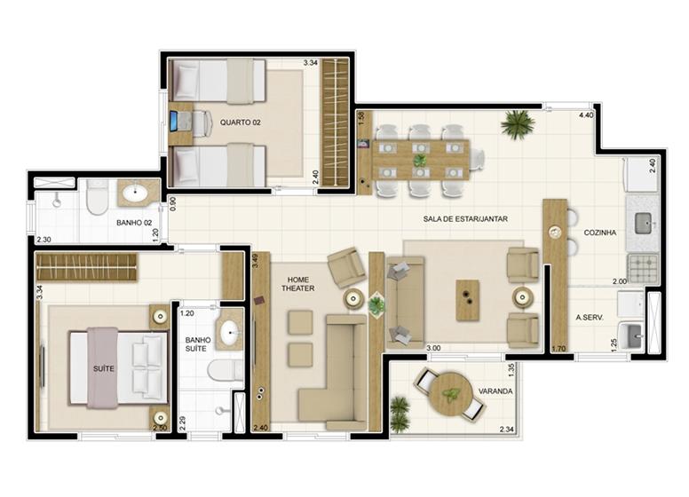 Planta 69m² - Sala ampliada - Novo Sttilo Home Club
