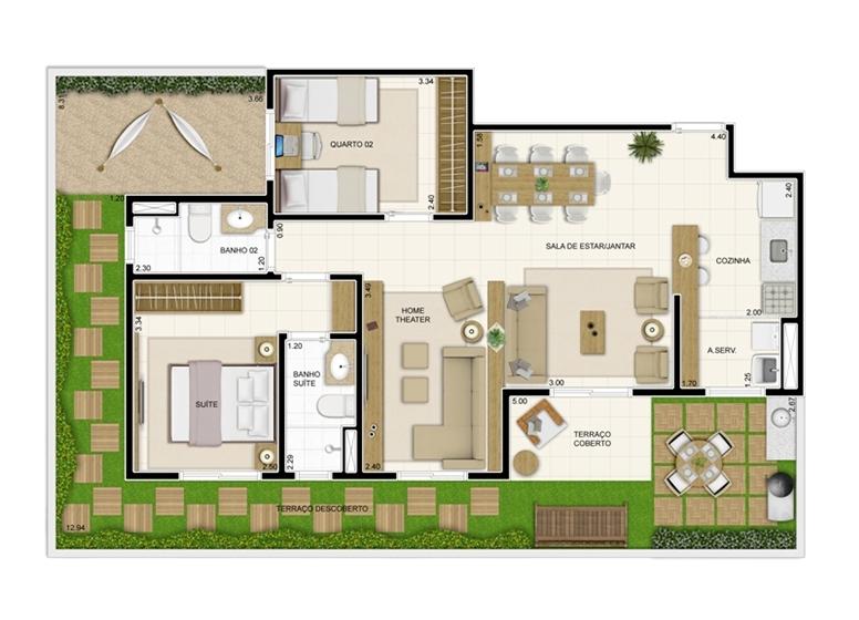 Giardino 119m² - Sala ampliada - Novo Sttilo Home Club