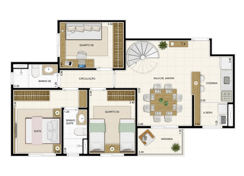 Duplex Inferior 132m² - Novo Sttilo Home Club