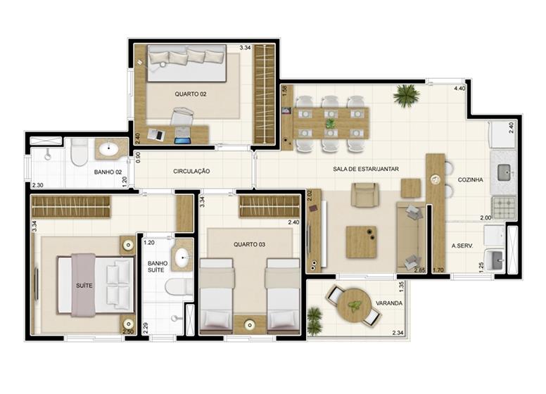Planta 69m² - Novo Sttilo Home Club