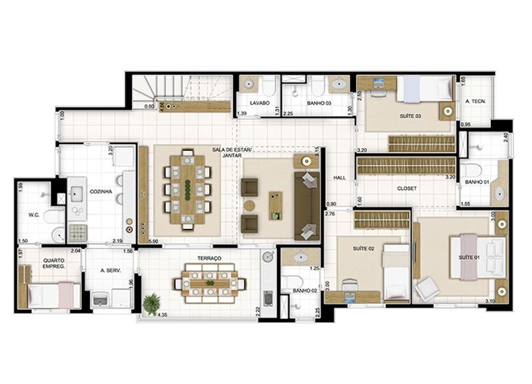 Duplex Inferior 236,22m² - Sala Ampliada e Suíte - Quartier Lagoa Nova