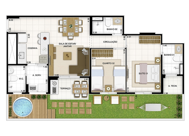 Maison 93,77m² - Quartier Lagoa Nova