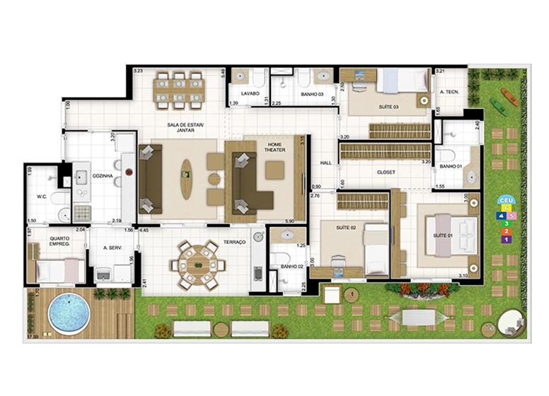 Maison 166,98m² - Sala Ampliada - Quartier Lagoa Nova