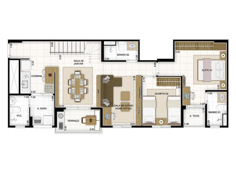 Duplex Inferior 159,60m² - Sala Ampliada - Quartier Lagoa Nova