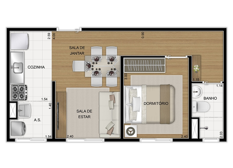Planta Térreo 1 dorm 34,80m², final 8 - perspectiva ilustrada - Vila Arbori Alegria