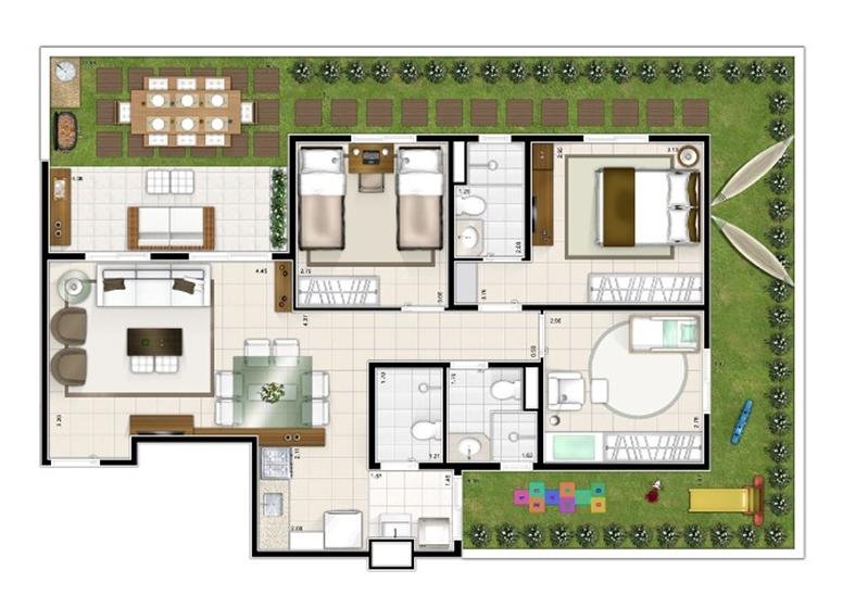 Giardino 3 dorms. 121m²