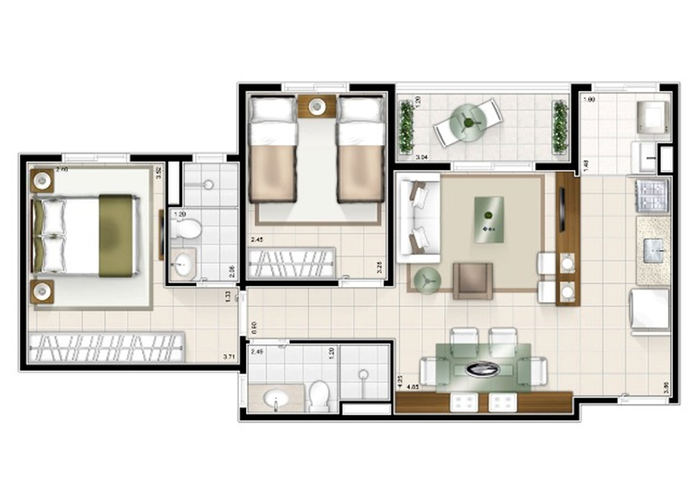 Tipo 2 dorms. 59m² - Sttilo Clube Residence
