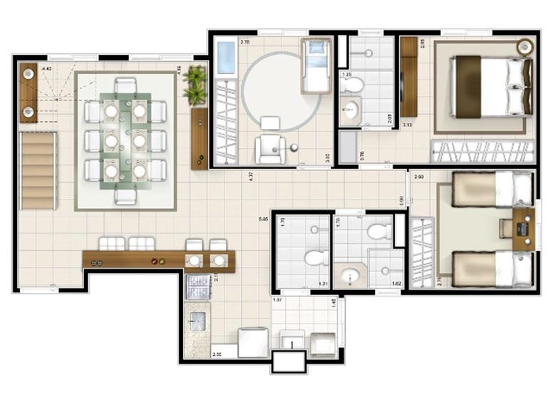 Duplex Inferior 3 dorms. 151m²