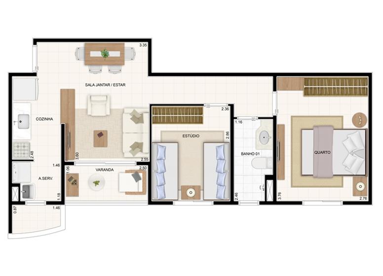 Planta 49,61m² - 2 Dorms. - Vita Residencial Clube