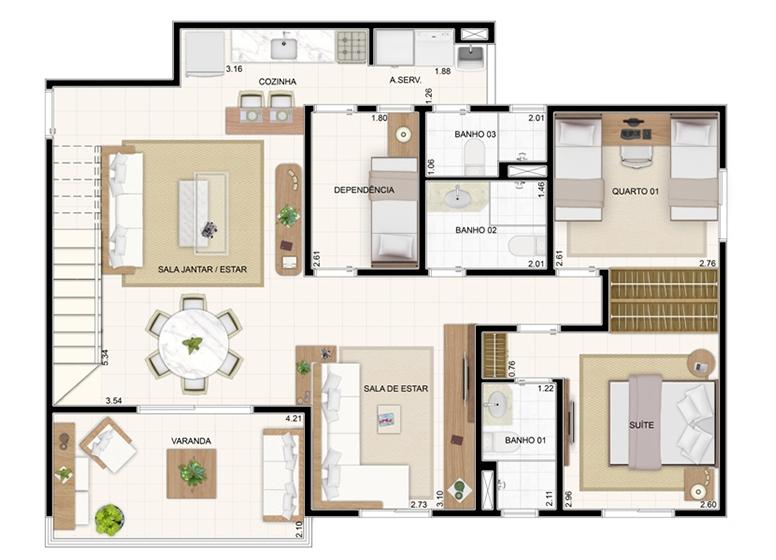 Duplex Inferior 176,57m² - 3 Dorms. (Sala Ampliada) - Vita Residencial Clube