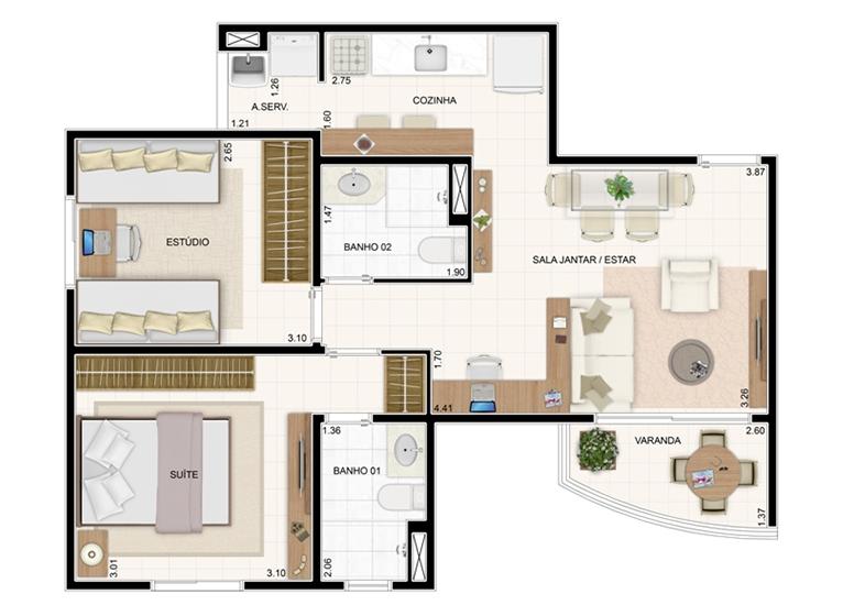 Planta 55m² - 2 Dorms. - Vita Residencial Clube