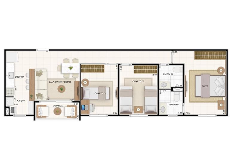 Planta 67,35m² - 3 Dorms. - Vita Residencial Clube