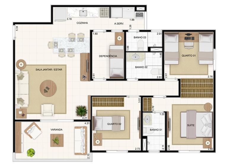 Planta 89,19m² - 3 Dorms. - Vita Residencial Clube
